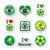 stock photo of offside  - Soccer ball with flag of Brazil vector icons set isolated on white - JPG