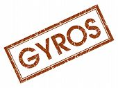 pic of gyro  - Gyros brown square grungy stamp isolated on white background - JPG