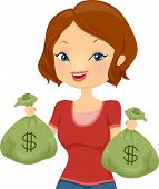 stock photo of cash  - Illustration of a Pretty Girl Carrying Cash Bags - JPG