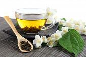 foto of jasmine  - Jasmine tea on table - JPG