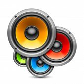 stock photo of subwoofer  - Composition of 4 color speakers on white background - JPG