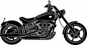 picture of chopper  - illustration of great Detailed Motorcycle Silhouette with white background - JPG