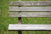 foto of pubic  - Wooden bench at pubic park in summer season - JPG
