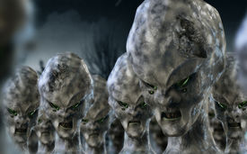 picture of paranormal  - 3D character science fiction alien invasion scene - JPG
