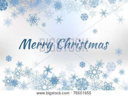 Vector Vintage Christmas Greeting Card On Winter Background With Snowflakes