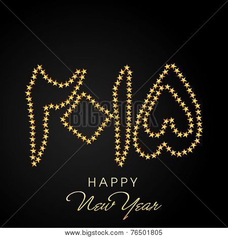 Beautiful greeting card with Urdu Islamic calligraphy of golden text Happy New Year 2015 on shiny brown background.