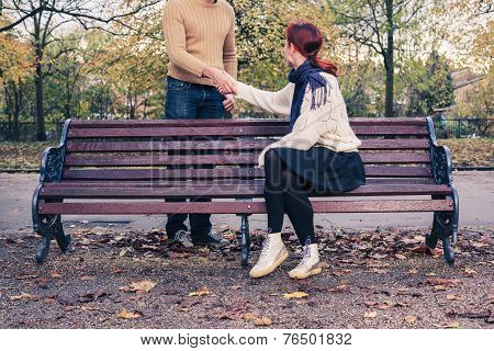 Woman Meeting Man In Park