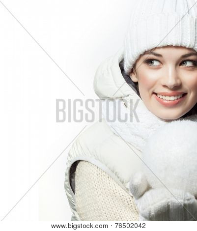 closeup portrait of attractive  caucasian smiling woman brunette isolated on white studio shot lips toothy smile face hair head and shoulders tooth winter christmas