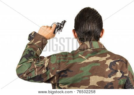 distraught military soldier veteran ptsd holding a gun