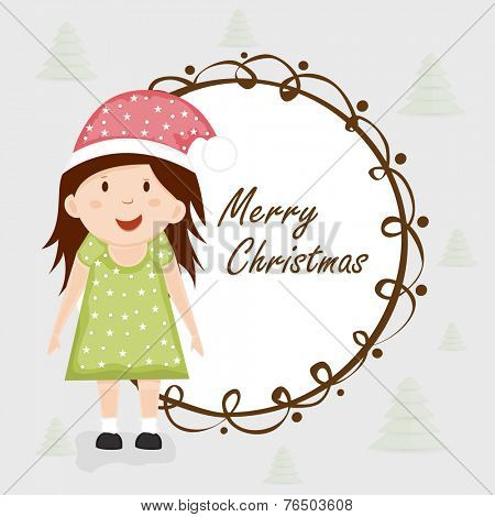 Greeting card design with cute little girl in Santa cap celebrating Merry Christmas.