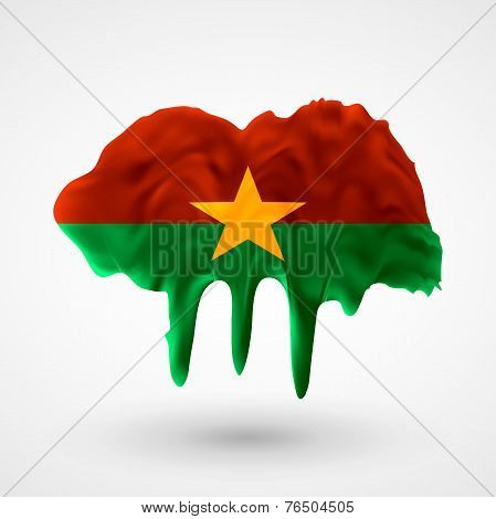 Flag of Burkina Faso painted colors
