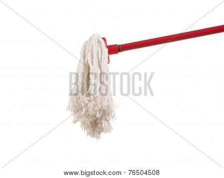 Red mop for cleaning.