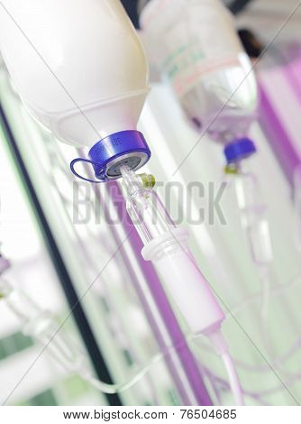 Infusion Bottles With Iv Solution. Infusion With Medications.