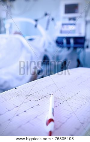 Cardiogram, Pen Against The Seriously Ill In Hospital