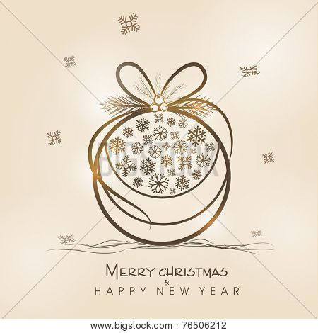 Beautiful X-mas ball decorated with snowflakes for Merry Christmas and Happy New Year celebrations.