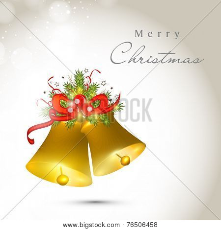 Jingle bells and fir leaves tied by red ribbon, beautiful greeting card design for Merry Christmas celebrations.
