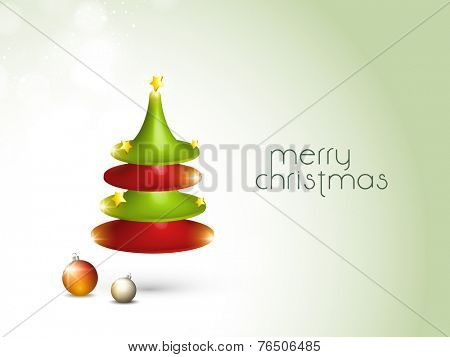 Merry Christmas celebration concept with stylish X-mas tree and X-mas balls on shiny green background.