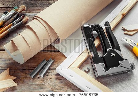 Artist Canvas In Roll, Canvas Stretcher, Staple Gun And Paintbrushes