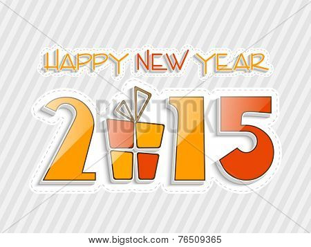 Happy New Year 2015 celebration concept with gift box and stylish text on grey linen background.