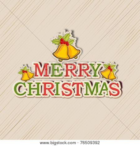 Colorful text of Merry Christmas decorated with jingle bells and mistletoe on vintage beige background.