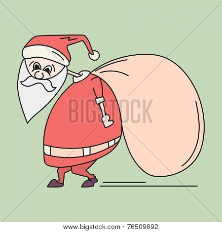 Cute cartoon of a Santa Claus holding a big gift sack on his back for Merry Christmas and other occasion celebrations.