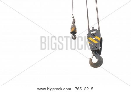Old Black And Yellow Iron Crane Hook