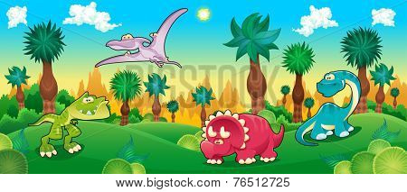 Green forest with dinosaurs. Vector cartoon illustration.