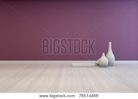 3D Rendering of Colorful bare purple living room interior with a white wooden floor unfurnished except for an arrangement of small ceramic vases on the floor with space for imaginative interior decor