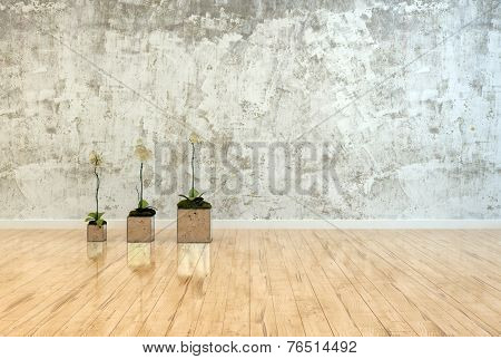 3D Rendering of Three potted orchids with reflections standing in a line on a polished wood floor in front of a mottled stained grey wall with space for interior decor design or copy