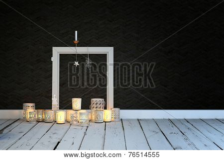 3D Rendering of Festive or spiritual background of an arrangement of decorative glowing burning candles on a rustic white painted wooden floor in a room with a black wall and empty picture frame