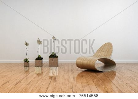 3D Rendering of Stylish contemporary living room interior with an unusual bentwood chair facing three potted orchids in flower on a polished shiny parquet floor and white wall