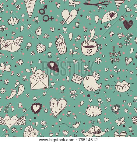 Cue concept seamless pattern with birds, hot cups, letters, cupcakes and hearts. Seamless pattern can be used for wallpapers, pattern fills, web page backgrounds, surface textures.