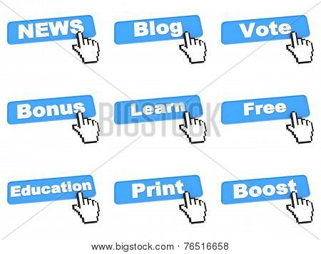 Different Web Buttons with Hand Cursor.