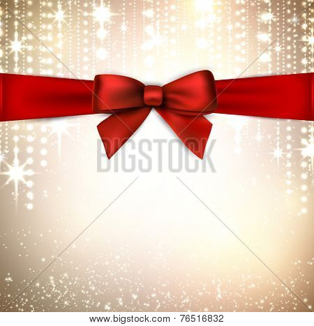 Winter background with crystallic snowflakes with red gift bow. Christmas decoration. Vector.