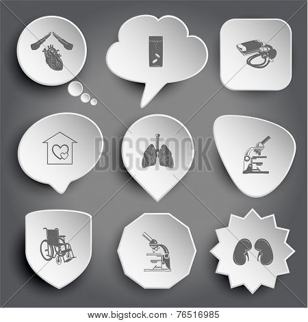 heart protect, glass with tablets, blood pressure, orphanage, lungs, lab microscope, invalid chair, kidneys. White vector buttons on gray.