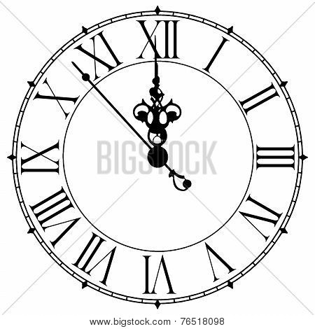 Image Of An Old Antique Wall Clock 7 Seconds To Midnight Or Noon