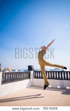 Woman practicing yoga dancing