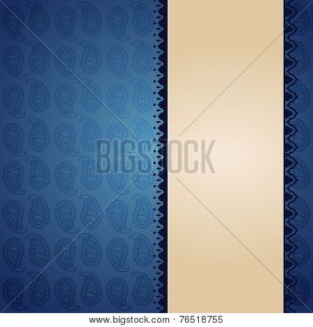 Asian blue paisley banner