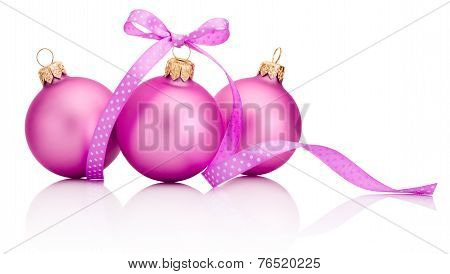 Three Pink Christmas Ball With Ribbon Bow Isolated On White Background