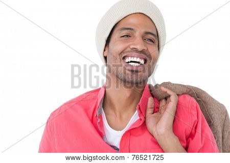 Smiling man wearing beanie hat on white background