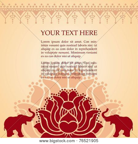 Indian elephant and lotus henna background