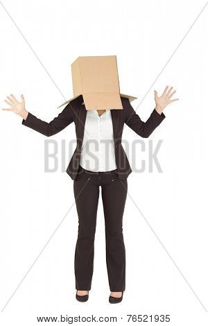 Anonymous businesswoman with her hands up on white background