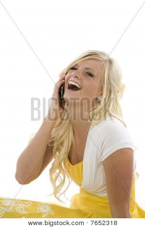Girl In Yellow Dress On Phone Laughing