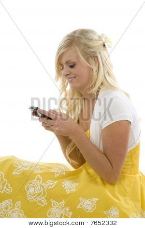 Girl In Yellow Dress Texting