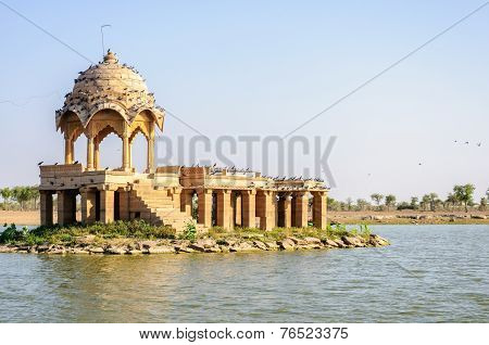 Ancient Hindu Stone Temple In The Middle Of Lake
