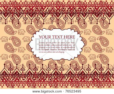Elephant and paisley henna vintage oriental banner