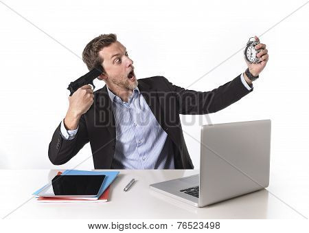 Businessman Pointing Gun To Head Holding Watch In Overwork And Overtime Work Concept
