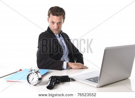 Businessman With Gun And Alarm Clock In Deadline, Pressure And Timing Projects Concept