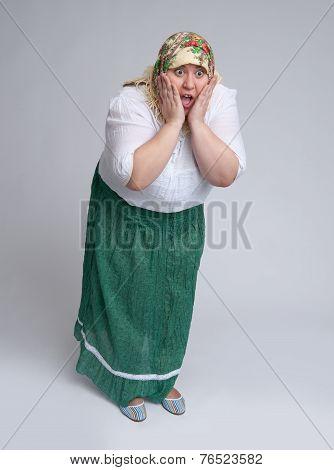 Russian Woman Wearing Traditional Headscarf