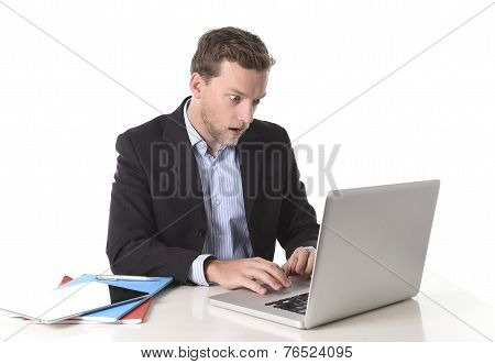 Young Attractive European Businessman Working In Stress At Office Desk Computer Looking Monitor In S